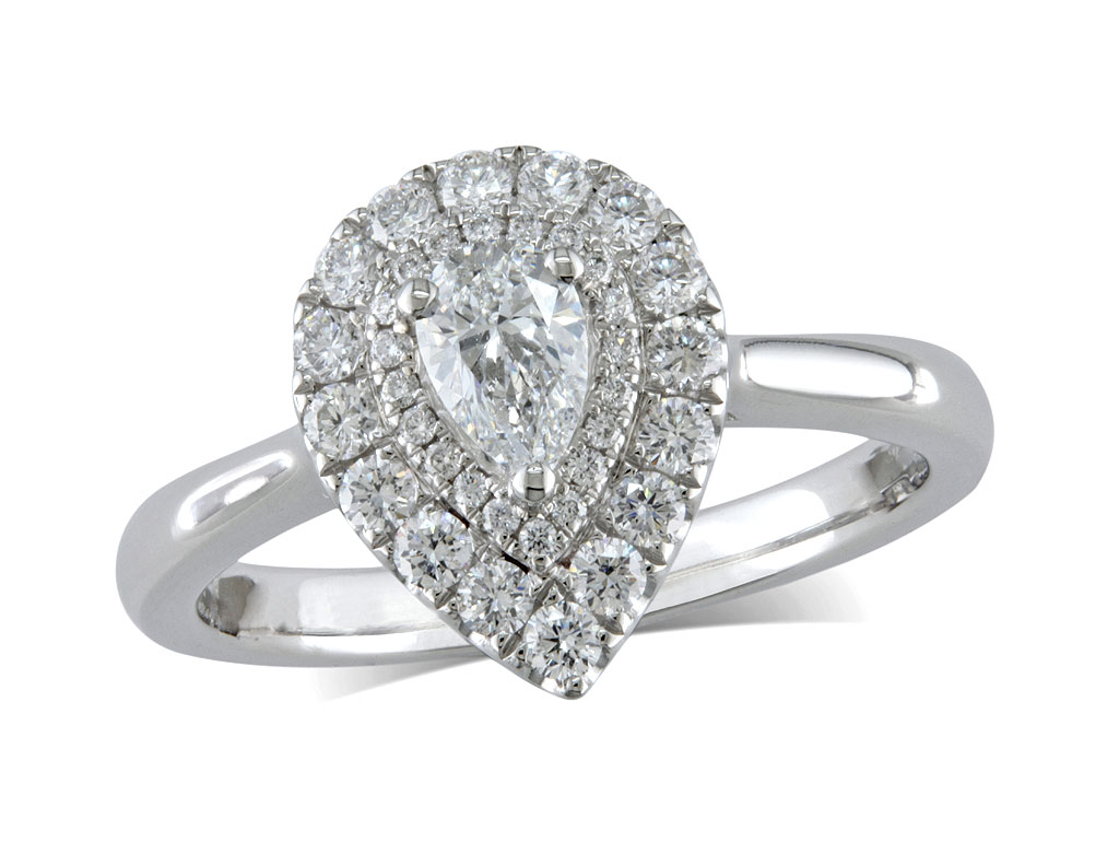Platinum set diamond cluster engagement ring, with a certificated pear cut centre in a claw setting, with a surrounding two row diamond set bezel. Total carat weight: 0.66ct.