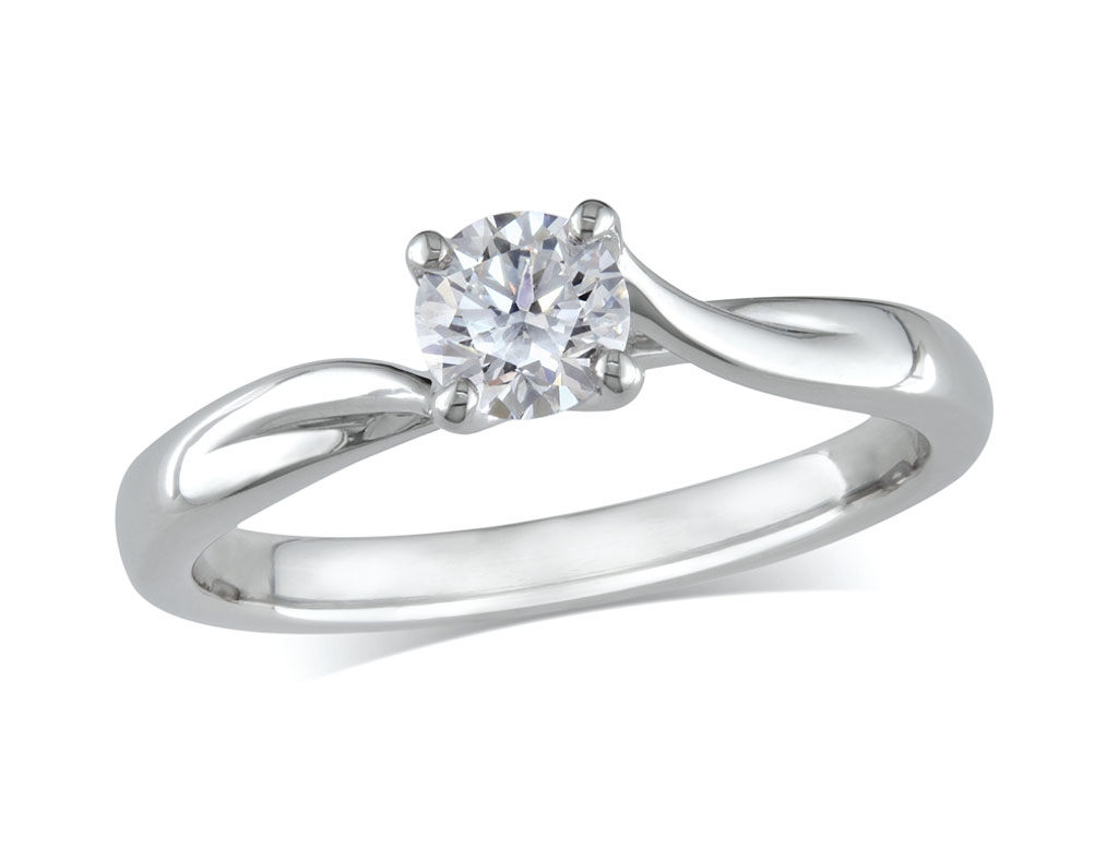 A 0.30ct, Brilliant, E, Single stone diamond ring. You can buy online or reserve online and view in store at Jamieson and Carry, Aberdeen
