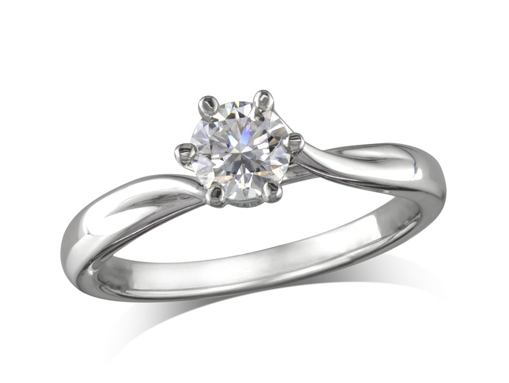 A 0.30ct, Brilliant, D, Single stone diamond ring. You can buy online or reserve online and view in store at Jamieson and Carry, Aberdeen
