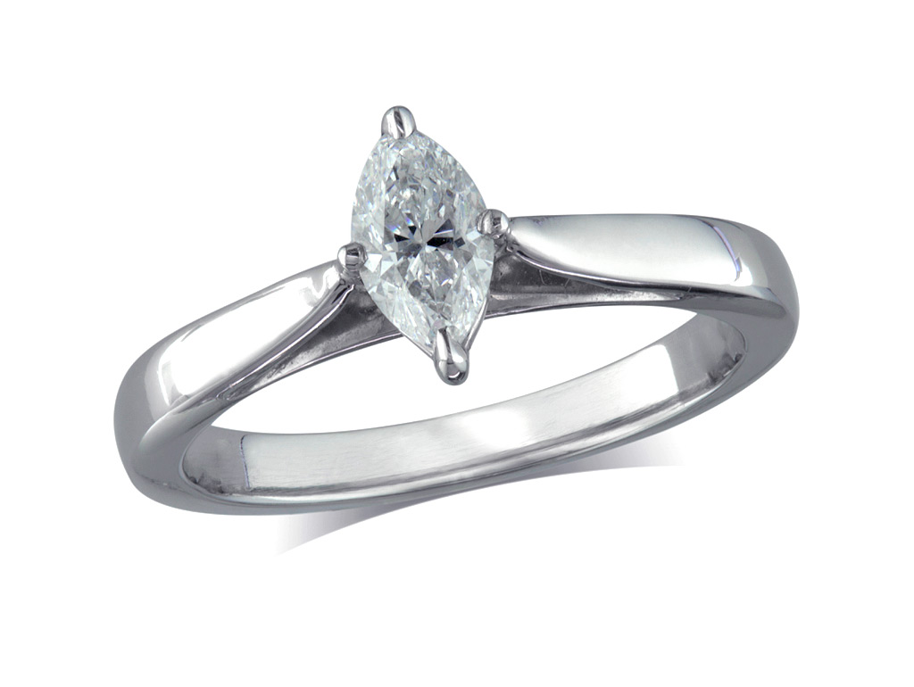 A 0.46ct, Marquise, E, Single stone diamond ring. You can buy online or reserve online and view in store at Michael Jones Jeweller, Gold Street Northampton