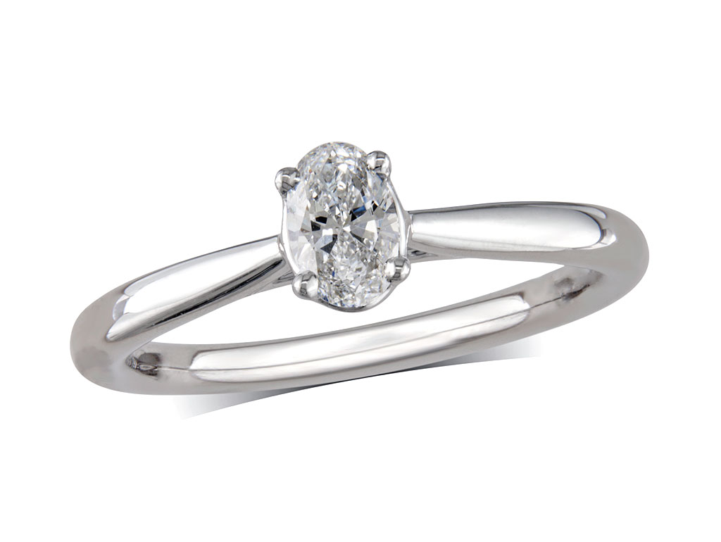 A 0.30ct, Oval, D, Single stone diamond ring. You can buy online or reserve online and view in store at Jamieson and Carry, Aberdeen