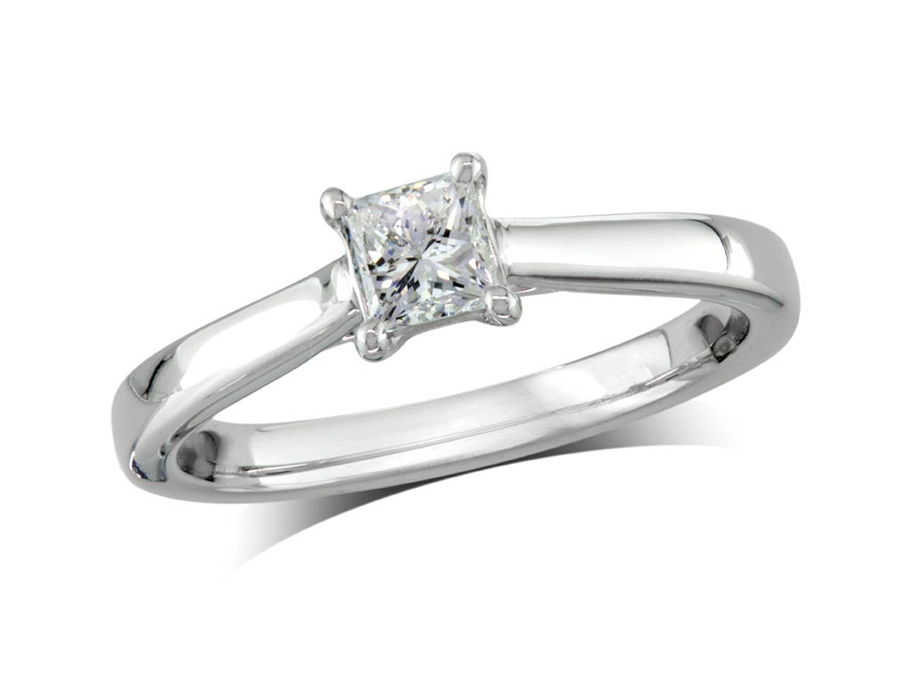 A 0.40ct, Princess, F, Single stone diamond ring. You can buy online or reserve online and view in store at Jamieson and Carry, Aberdeen