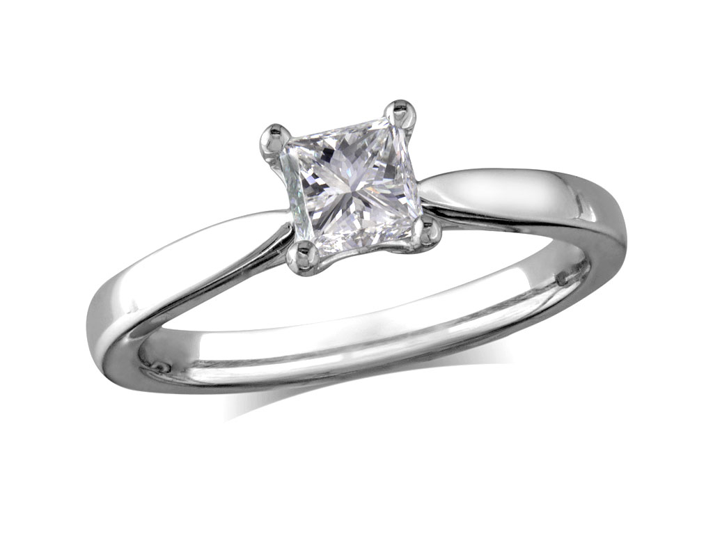 ea1270a7f £4,030; Platinum set single stone diamond engagement ring, with a  certificated princess cut, in a