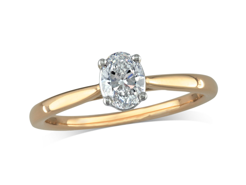 18 carat yelow gold set single stone diamond engagement ring, with a certificated oval cut, in a four claw setting. Perfect fit with a wedding ring.