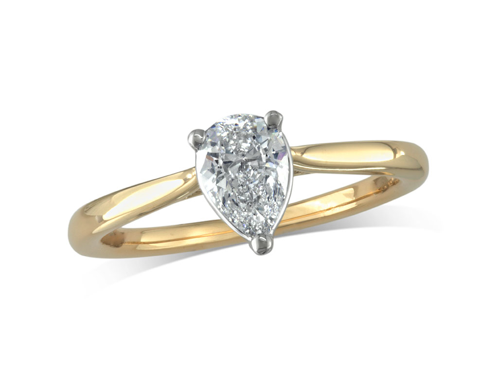 18 carat yellow gold set single stone diamond engagement ring, with a certificated pear cut, in a three claw setting. Perfect fit with a wedding ring.