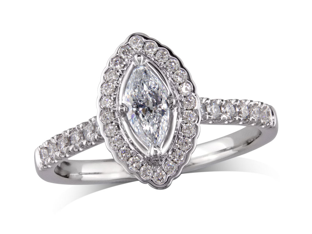 A 0.30ct centre, Marquise, E, Cluster diamond ring. You can buy online or reserve online and view in store at Jamieson and Carry, Aberdeen