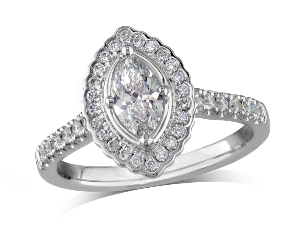 Platinum set diamond cluster engagement ring, with a certified marquise cut centre in a four claw setting, with a surrounding diamond set bezel and diamond set shoulders. Perfect fit with a wedding ring. Total cluster diamond weight: 0.81ct.