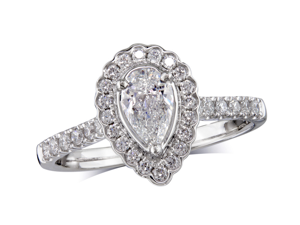 Platinum set diamond cluster engagement ring, with a certified pear cut centre in a three claw setting, with a surrounding diamond set bezel and diamond set shoulders. Perfect fit with a wedding ring. Total cluster diamond weight:0.77