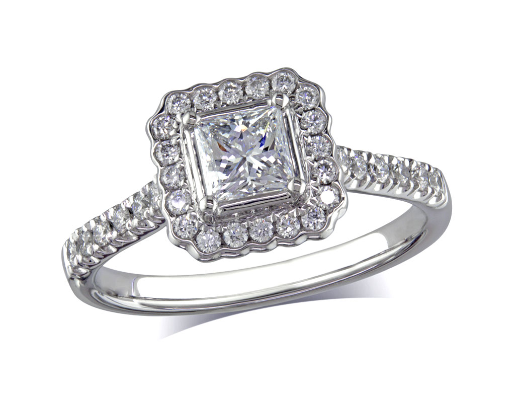 Platinum set diamond cluster engagement ring, with a certified princess cut centre in a four claw setting, with a surrounding diamond set bezel and diamond set shoulders. Perfect fit with a wedding ring. Total cluster diamond weight: 0.82ct.