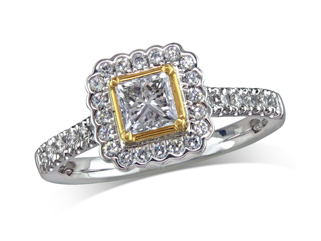 Platinum set diamond cluster engagement ring, with a certificated princess cut centre in a four claw setting, with a surrounding diamond set bezel and diamond set shoulders. Perfect fit with a wedding ring. Total cluster diamond weight:0.99ct
