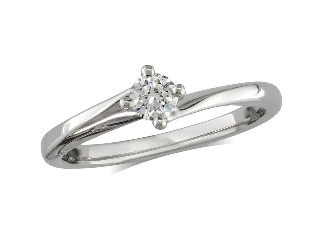A 0.20ct, Brilliant, F, Single stone diamond ring. You can buy online or reserve online and view in store at Michael Jones Jeweller, Grosvenor Northampton