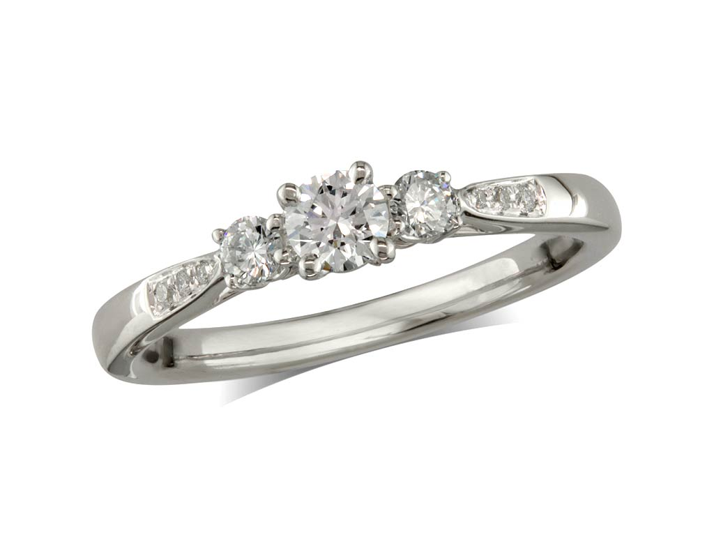 A 0.21ct centre, Brilliant, G, Three stone diamond ring. You can buy online or reserve online and view in store at Michael Jones Jeweller, Grosvenor Northampton