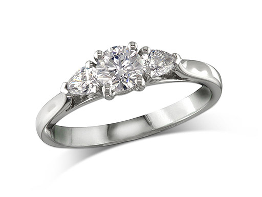 Platinum set single stone diamond engagement ring, with a certificated brilliant cut centre in a four claw setting, and one pear cut on each shoulder. Total diamond weight: 0.63ct.