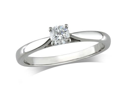 Platinum set single stone diamond engagement ring, with a certificated brilliant cut, in a four claw setting.
