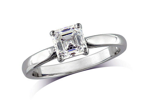 Platinum set single stone diamond engagement ring, with a certificated Asscher cut, in a four claw setting. Perfect fit with a wedding ring.