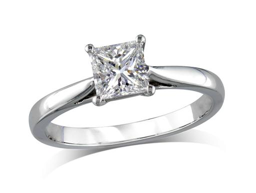 Platinum set single stone diamond ring with a certificated asscher cut centre stone in a four claw setting. Wedding ring fit.