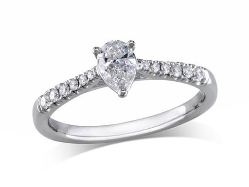 Platinum set single stone diamond engagement ring, with a certificated pear cut centre in a four claw setting, and diamond set shoulders. Perfect fit with a wedding ring. Total diamond weight: 0.44ct.