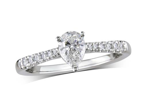 Platinum set single stone diamond engagement ring, with a certificated pear cut centre in a four claw setting, and diamond set shoulders. Perfect fit with a wedding ring. Total diamond weight: 0.58cts