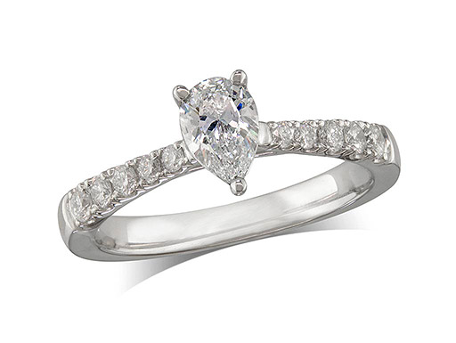 Platinum set single stone diamond engagement ring, with a certificated pear cut centre in a four claw setting, and diamond set shoulders. Perfect fit with a wedding ring. Total diamond weight:0.95ct