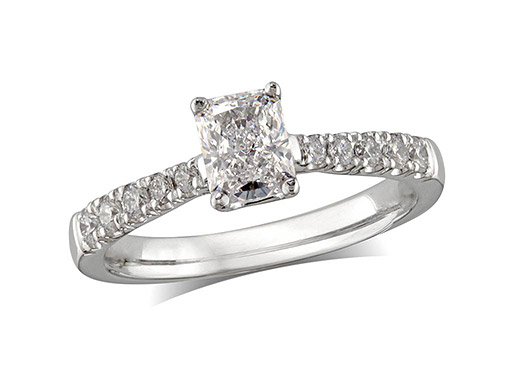 Platinum set single stone diamond engagement ring, with a certificated cushion cut centre in a four claw setting, and diamond set shoulders. Perfect fit with a wedding ring. Total diamond weight: 0.71ct.
