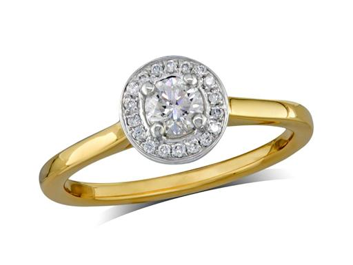 18 carat yellow gold set diamond engagement ring, with a certificated brilliant cut centre in a four claw setting, surrounded by a diamond set cluster. Perfect fit with a wedding ring. Total diamond weight: 0.37ct