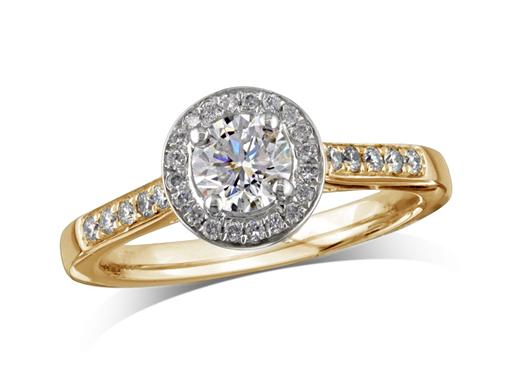 18 carat yellow gold set diamond ring, with a certificated brilliant cut centre in a four claw setting, surrounded by a diamond set cluster and shoulders. Perfect fit with a wedding ring. Total diamond weight: 0.48ct.