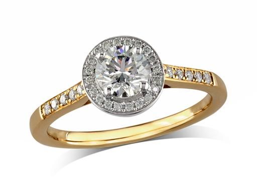 18 carat yellow gold set diamond engagement ring, with a certificated brilliant cut centre in a four claw setting, surrounded by a diamond set cluster and shoulders. Perfect fit with a wedding ring. Total diamond weight: 0.64cts