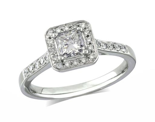 Platinum set diamond engagement ring, with a certificated princess cut centre in a four claw setting, surrounded by a diamond set cluster and shoulders. Perfect fit with a wedding ring. Total diamond weight: 0.61ct.