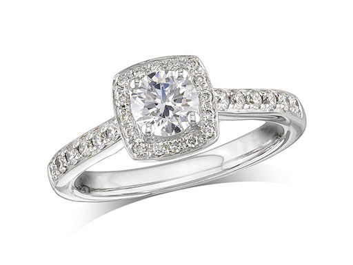 Platinum set diamond engagement ring, with a certificated brilliant cut centre in a four claw setting, surrounded by a diamond set cluster and shoulders. Perfect fit with a wedding ring. Total diamond weight: 1.00ct