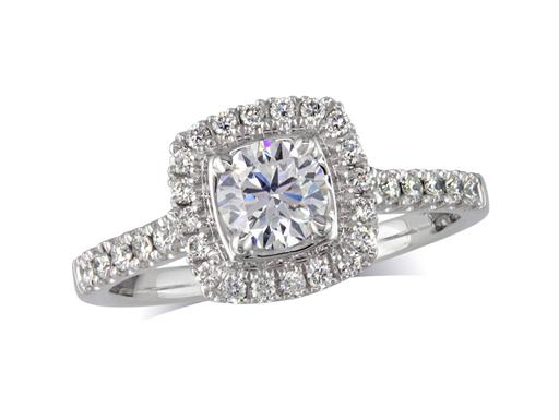 Platinum set diamond engagement ring, with a certificated brilliant cut in a four claw setting, surrounded by a diamond set cluster and split shoulders. Perfect fit with a wedding ring. Total diamond weight: 0.80cts