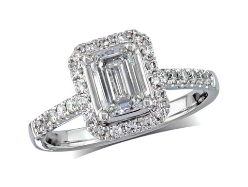 Platinum set diamond cluster engagement ring, with a certificated emerald cut centre in a four claw setting, with a surrounding diamond set bezel and diamond set shoulders. Perfect fit with a wedding ring. Total cluster diamond weight:1.00ct