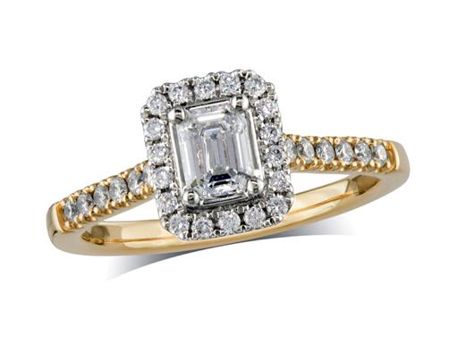 18 carat yellow gold set diamond cluster engagement ring, with a certificated emerald cut centre in a four claw setting, with a surrounding diamond set bezel and diamond set shoulders. Perfect fit with a wedding ring. Total cluster diamond weight: 0.74ct.