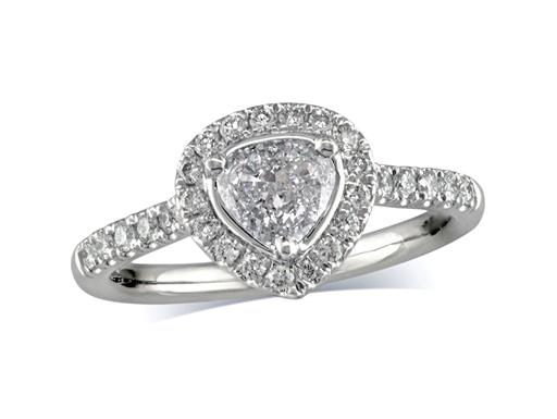 Platinum set diamond cluster engagement ring, with a certificated heart shaped centre in a three claw setting, with a surrounding diamond set bezel and diamond set shoulders. Perfect fit with a wedding ring. Total cluster diamond weight: 0.77cts