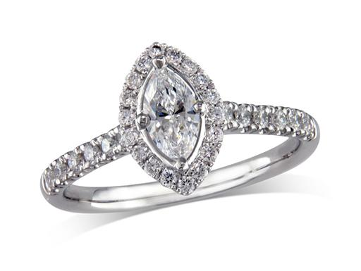 Platinum set diamond ring, with a certificated marquise cut centre in a 4 claw setting, surrounded by a diamond set cluster and shoulders. Perfect fit with a wedding ring. Total diamond weight: 0.62ct