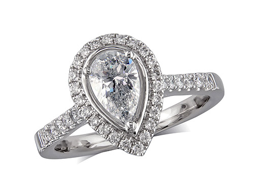 Platinum set diamond ring, with a certificated pear cut centre in a three claw setting, surrounded by a diamond set cluster and shoulders. Perfect fit with a wedding ring. Total diamond weight: 0.90ct.