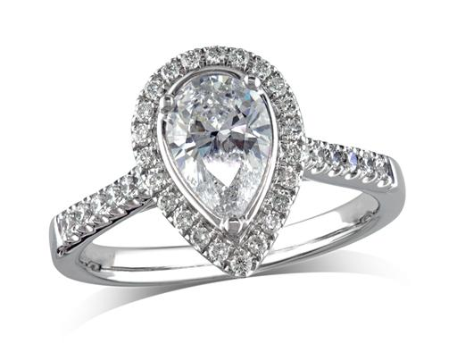 Platinum set diamond ring, with a certificated pear cut centre in a three claw setting, surrounded by a diamond set cluster and shoulders. Perfect fit with a wedding ring. Total diamond weight: 1.20ct.