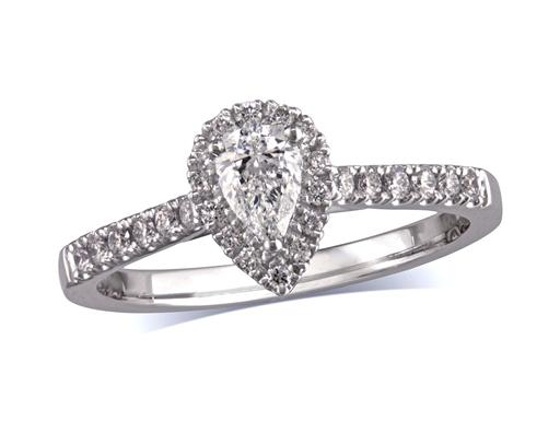 Platinum set diamond ring, with a certificated pear cut centre in a three claw setting, surrounded by a diamond set cluster and shoulders. Perfect fit with a wedding ring. Total diamond weight:0.76