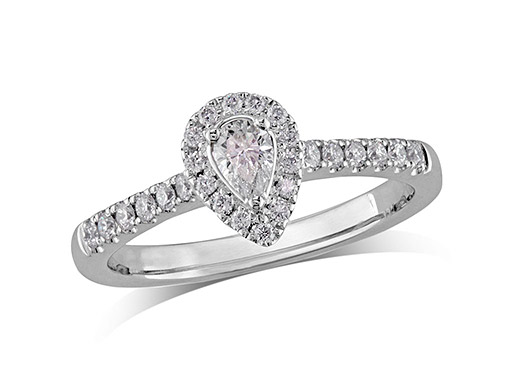 Platinum set diamond ring, with a certificated pear cut centre in a three claw setting, surrounded by a diamond set cluster and shoulders. Perfect fit with a wedding ring. Total diamond weight: 0.45ct.