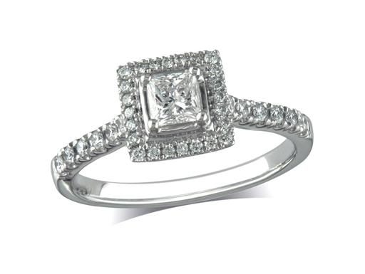 Platinum set diamond ring, with a certificated princess cut centre in a four claw setting, surrounded by a diamond set cluster and shoulders. Perfect fit with a wedding ring. Total diamond weight: 0.60ct.