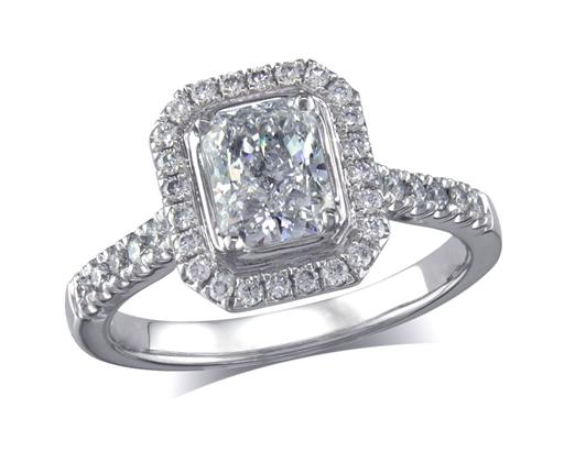 Platinum set diamond ring, with a certificated radiant cut centre in a four claw setting, surrounded by a diamond set cluster and shoulders. Perfect fit with a wedding ring. Total diamond weight: 1.18ct.