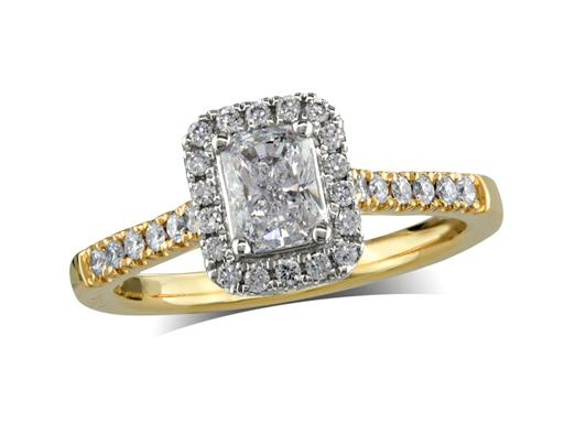 18 carat yellow gold set diamond ring, with a certificated radiant cut centre in a four claw setting, surrounded by a diamond set cluster and shoulders. Perfect fit with a wedding ring. Total diamond weight: 0.78ct.