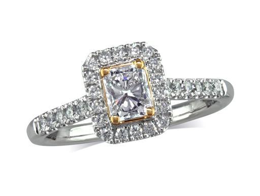 Platinum set diamond cluster engagement ring, with a certificated emerald cut centre in a four claw setting, with a surrounding diamond set bezel and diamond set shoulders. Perfect fit with a wedding ring. Total cluster diamond weight:0.66ct
