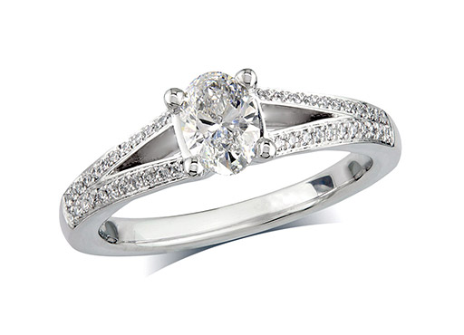 Platinum set single stone diamond engagement ring, with a certificated oval cut centre in a four claw setting, and diamond set shoulders. Perfect fit with a wedding ring. Total diamond weight: 0.64ct.