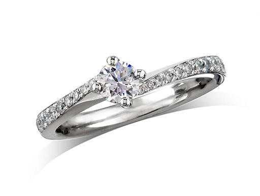 Platinum set three stone diamond engagement ring, with a certificated brilliant cut centre in a four claw setting, and one brilliant cut with diamond set shoulders on each side. Perfect fit with a wedding ring. Total diamond weight:  0.52cts