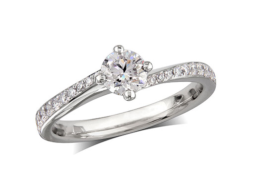 Platinum set single stone diamond engagement ring, with a certificated brilliant cut centre in a four claw setting, and diamond set shoulders. Perfect fit with a wedding ring. Total diamond weight: 0.72cts