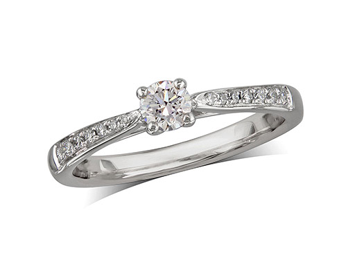 Platinum set single stone diamond engagement ring, with a certificated brilliant cut centre in a four claw setting, and diamond set shoulders. Perfect fit with a wedding ring. Total diamond weight:  0.35cts