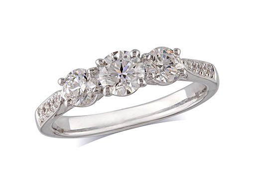 Platinum set three stone diamond engagement ring, with a certificated brilliant cut centre in a four claw setting, and one brilliant cut with diamond set shoulders on each side. Perfect fit with a wedding ring. Total diamond weight: 1.26ct.