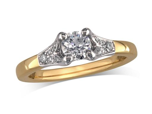 18 carat yellow gold set single stone diamond engagement ring, with a certificated brilliant cut centre in a four claw setting, and diamond set shoulders. Perfect fit with a wedding ring. Total diamond weight: 0.59ct.