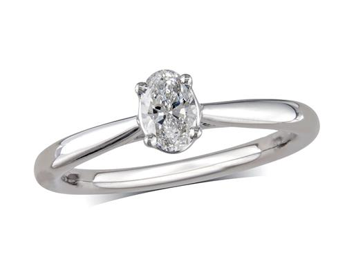 Platinum set single stone diamond engagement ring, with a certificated oval cut, in a four claw setting.