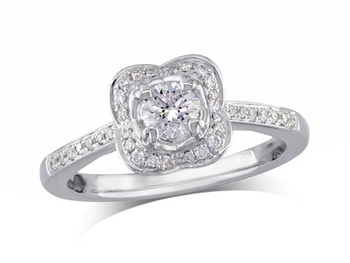 Platinum set diamond cluster engagement ring, with a certificated brilliant cut centre in a four claw setting, with a surrounding diamond set bezel and diamond set shoulders. Perfect fit with a wedding ring. Total cluster diamond weight: 0.49ct.